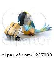 Clipart Of A 3d Blue And Yellow Macaw Parrot Moving Boxes On A Dolly 2 Royalty Free Illustration