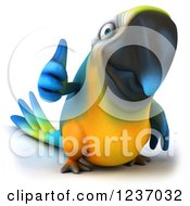 Clipart Of A 3d Blue And Yellow Macaw Parrot Holding A Thumb Up Royalty Free Illustration