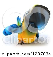 Clipart Of A 3d Blue And Yellow Macaw Parrot Pointing Outwards Royalty Free Illustration