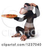 Clipart Of A 3d Thinking Chimp Holding A Pizza 4 Royalty Free Illustration