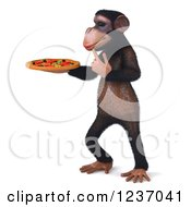 Clipart Of A 3d Thinking Chimp Holding A Pizza 5 Royalty Free Illustration
