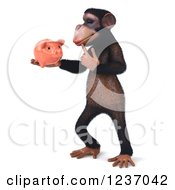 Clipart Of A 3d Thinking Chimp Holding A Piggy Bank 3 Royalty Free Illustration