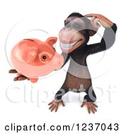 Clipart Of A 3d Thinking Chimp Holding A Piggy Bank 4 Royalty Free Illustration