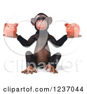 Clipart Of A 3d Chimp Holding Two Piggy Banks Royalty Free Illustration