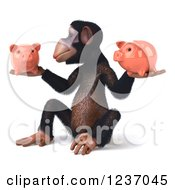 Clipart Of A 3d Chimp Holding Two Piggy Banks 3 Royalty Free Illustration
