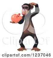 Clipart Of A 3d Thinking Chimp Holding A Piggy Bank 2 Royalty Free Illustration