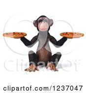 Clipart Of A 3d Chimp Holding Two Pizzas Royalty Free Illustration