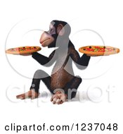 Clipart Of A 3d Chimp Holding Two Pizzas 2 Royalty Free Illustration
