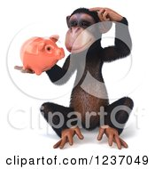 Clipart Of A 3d Thinking Chimp Holding A Piggy Bank Royalty Free Illustration