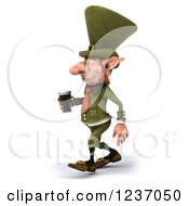 Clipart Of A 3d Skinny Leprechaun Walking With A Beer Royalty Free Illustration by Julos