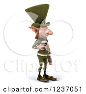 Clipart Of A 3d Skinny Leprechaun With A Beer Facing Right Royalty Free Illustration by Julos