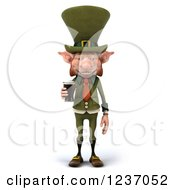 Clipart Of A 3d Skinny Leprechaun With A Beer Royalty Free Illustration by Julos