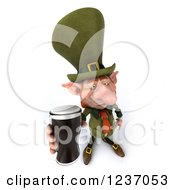 Clipart Of A 3d Skinny Leprechaun Holding Up A Beer Royalty Free Illustration by Julos