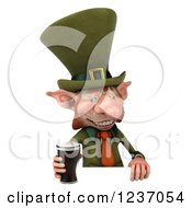 Clipart Of A 3d Skinny Leprechaun With A Beer Over A Sign Royalty Free Illustration by Julos