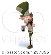 Clipart Of A 3d Skinny Leprechaun With A Beer Looking Around A Sign Royalty Free Illustration by Julos