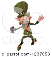 Clipart Of A 3d Skinny Leprechaun Jumping With A Beer Royalty Free Illustration by Julos