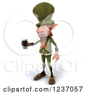 Clipart Of A 3d Skinny Leprechaun With A Beer 3 Royalty Free Illustration by Julos