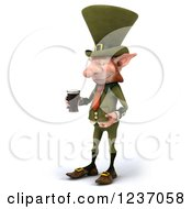 Clipart Of A 3d Skinny Leprechaun With A Beer Facing Left Royalty Free Illustration by Julos