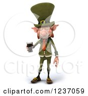 Clipart Of A 3d Skinny Leprechaun With A Beer 2 Royalty Free Illustration by Julos