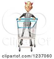 Clipart Of A 3d Devil Con Artist Business Man Pushing A Shopping Cart Royalty Free Illustration