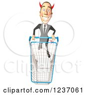 Clipart Of A 3d Devil Con Artist Business Man Pushing A Shopping Cart 2 Royalty Free Illustration