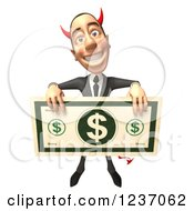 Clipart Of A 3d Devil Con Artist Business Man Holding A Giant Dollar Bill 3 Royalty Free Illustration