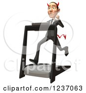 Clipart Of A 3d Devil Con Artist Business Man Running On A Treadmill 3 Royalty Free Illustration