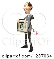 Clipart Of A 3d Devil Con Artist Business Man Holding A Giant Dollar Bill 2 Royalty Free Illustration