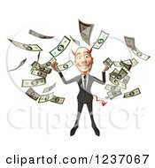 Clipart Of A 3d Devil Con Artist Business Man In Raining Money Royalty Free Illustration
