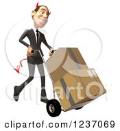 Clipart Of A 3d Devil Con Artist Business Man Moving Boxes On A Dolly 2 Royalty Free Illustration