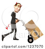 Clipart Of A 3d Devil Con Artist Business Man Moving Boxes On A Dolly 3 Royalty Free Illustration
