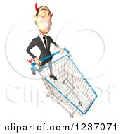 Clipart Of A 3d Devil Con Artist Business Man Pushing A Shopping Cart 3 Royalty Free Illustration