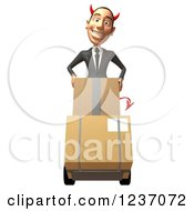 Clipart Of A 3d Devil Con Artist Business Man Moving Boxes On A Dolly Royalty Free Illustration
