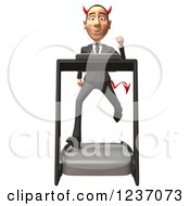 Clipart Of A 3d Devil Con Artist Business Man Running On A Treadmill Royalty Free Illustration