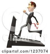 Clipart Of A 3d Devil Con Artist Business Man Running On A Treadmill 2 Royalty Free Illustration