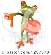 Clipart Of A 3d Green Springer Frog Holding A Piggy Bank And Thumb Down Royalty Free Illustration