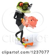 Clipart Of A 3d Bespectacled Green Business Springer Frog Walking With A Piggy Bank 2 Royalty Free Illustration