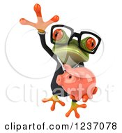 Clipart Of A 3d Bespectacled Green Business Springer Frog Leaping With A Piggy Bank 2 Royalty Free Illustration