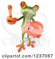Clipart Of A 3d Green Springer Frog Holding A Piggy Bank And Thumb Up Royalty Free Illustration