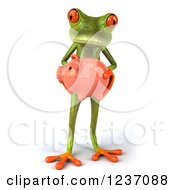 Clipart Of A 3d Green Springer Frog Holding A Piggy Bank 3 Royalty Free Illustration