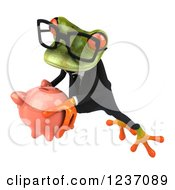 Clipart Of A 3d Bespectacled Green Business Springer Frog Holding A Piggy Bank Royalty Free Illustration