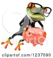 Clipart Of A 3d Bespectacled Green Business Springer Frog Holding A Piggy Bank 2 Royalty Free Illustration