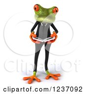 Clipart Of A 3d Business Springer Frog Reading A Book 2 Royalty Free Illustration