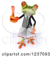 Clipart Of A 3d Business Springer Frog Holding A Thumb Up And Reading A Book Royalty Free Illustration