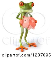 Clipart Of A 3d Green Springer Frog Holding A Piggy Bank 2 Royalty Free Illustration