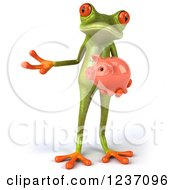 Clipart Of A 3d Green Springer Frog Holding A Piggy Bank And Presenting Royalty Free Illustration