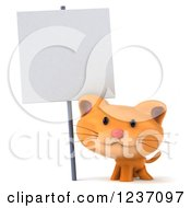 Clipart Of A 3d Ginger Cat Under A Sign Post 2 Royalty Free Illustration