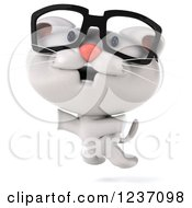 Clipart Of A 3d Happy Bespectacled White Kitten Jumping Royalty Free Illustration