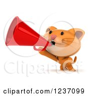 Clipart Of A 3d Ginger Cat Announcing With A Megaphone Royalty Free Illustration