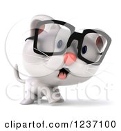 Clipart Of A 3d Bespectacled White Kitten Walking 2 Royalty Free Illustration